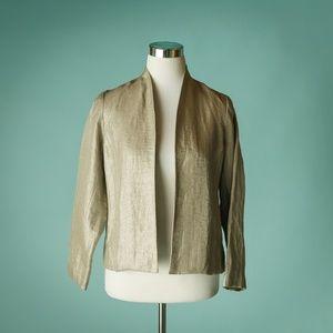 Eileen Fisher XS Petite Tan Linen Blend Blazer